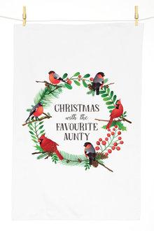 Personalised Christmas Birds Tea Towel - 310960