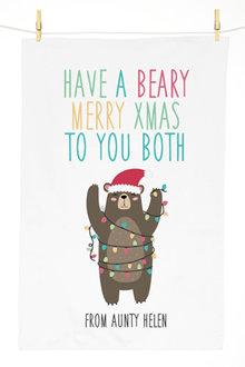 Personalised Beary Christmas Tea Towel - 310961