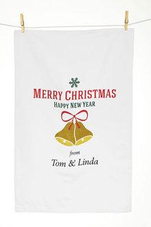 Personalised Christmas Bells Tea Towel - 310964