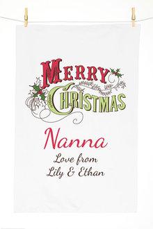 Personalised Christmas Holly Tea Towel - 310967