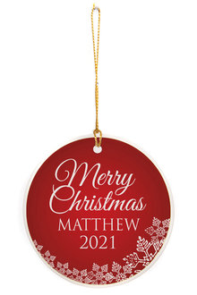 Personalised Christmas Bauble Round Ceramic Ornament - 310974
