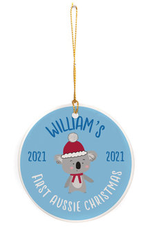 Personalised Aussie Blue First Christmas Round Ceramic Ornament - 310976