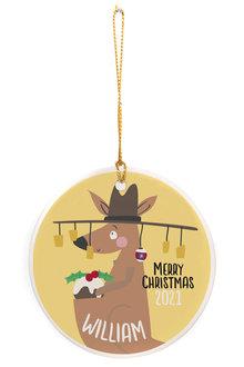 Personalised Aussie Christmas Kangaroo Round Ceramic Ornament - 310978