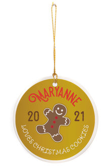 Personalised Christmas Gingerbread Round Ceramic Ornament - 310979
