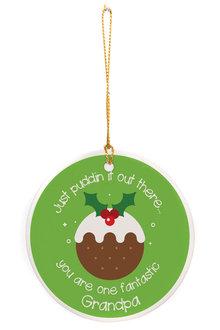Personalised Christmas Pudding Round Ceramic Ornament - 310981
