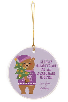 Personalised Awesome Sister Round Ceramic Ornament - 310983