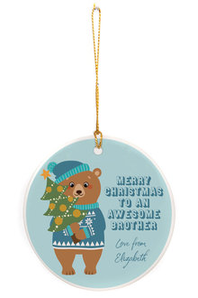 Personalised Awesome Brother Round Ceramic Ornament - 310985