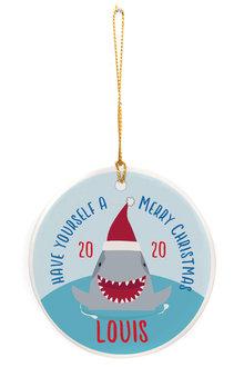 Personalised Aussie Christmas Shark Round Ceramic Ornament - 310986
