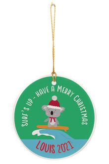 Personalised Aussie Christmas Koala Round Ceramic Ornament - 310988