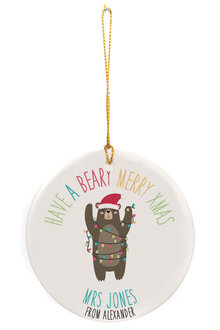Personalised Have A Beary Merry Xmas Round Ceramic Ornament - 310995