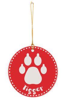 Personalised Cat Paw Round Ceramic Ornament - 311002