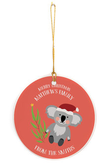 Personalised Christmas Koala Round Ceramic Ornament - 311006