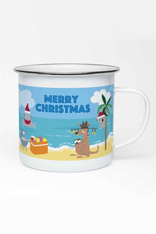 Personalised Aussie Christmas Enamel Mug - 311014