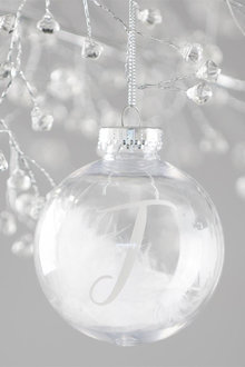 Personalised Clear Bauble With White Feather - 311024