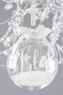 Personalised Clear Bauble with Snow Glitter White Ribbon - 311031