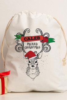 Personalised Christmas Dear Canvas Storage Sack - 311178