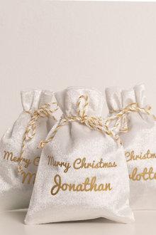 Personalised Mini White Christmas Sack-Set of 4 - 311182