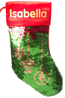 Personalised Christmas Baubles Reversible Sequin Stocking - 311184