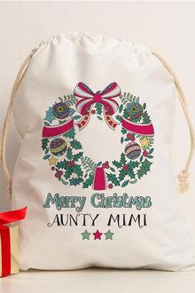 Personalised Christmas Wreath Canvas Storage Sack - 311187
