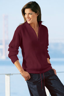 Capture European Ribbed 1/2 Zip Sweater - 51419