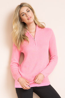 Capture European Ribbed 1/2 Zip Sweater - 51419