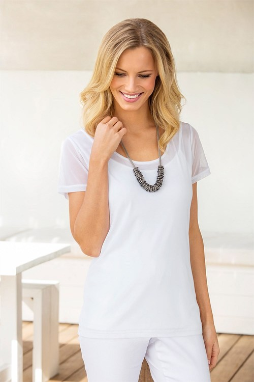 Capture Tulle Short Sleeved Layering Top