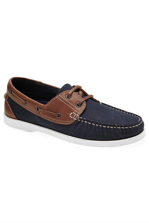Next Leather Two Colour Boat Shoes