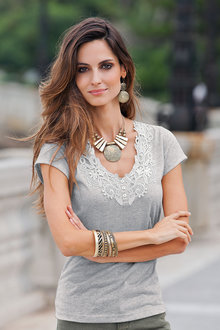 European Collection Lace Trim T-shirt - 122801