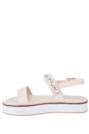 Plus Size - Wide Fit Jewelled Flatform Sandal