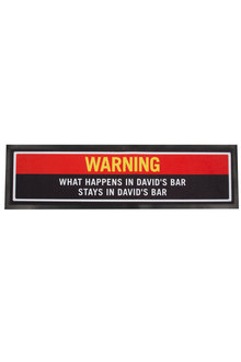 Personalised Bar Mat - Warning