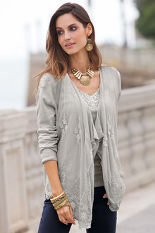 European Collection Lace Front Cardigan - 122802