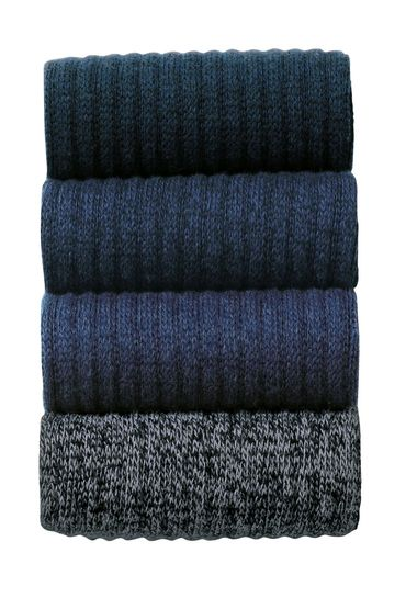 Next Mixed Blue Chunky Socks Four Pack