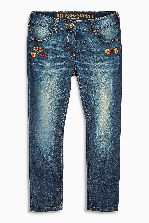 Next Denim Dk Wash Embroidered Jeans Online | Shop EziBuy