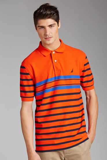 Nautica Short Sleeve Stripe Polo Top