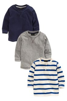 Next Blue Stripe Long Sleeve Tops Three Pack (3mths-6yrs)