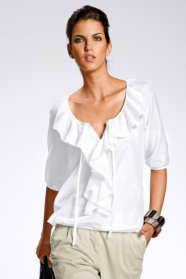 Capture European Silk Blend Ruffle Blouse