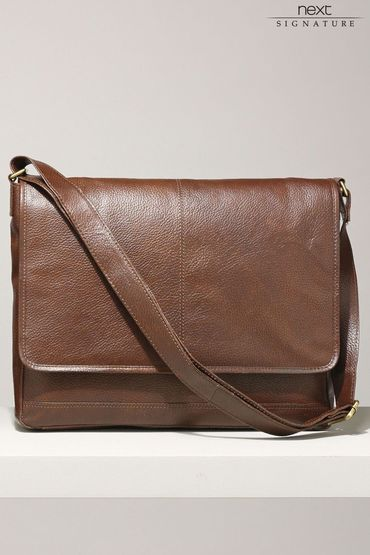 Next Signature Dark Tan Leather Messenger