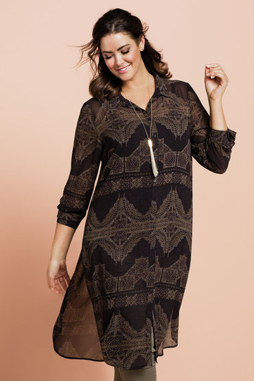 Emerge Woman Longline Printed Shirt