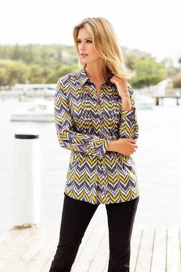 Yarra Trail Chevron Print Pin tuck Shirt