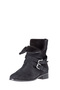 Plus Size - Wide Fit Sara Leather Fur Lined Biker Boot