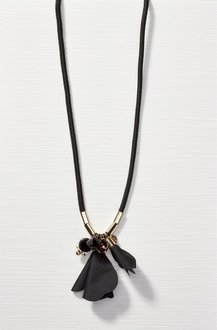 Next Black Fabric Flower Long Necklace