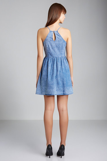 New Look Acid Wash Strappy Denim Sun Dress