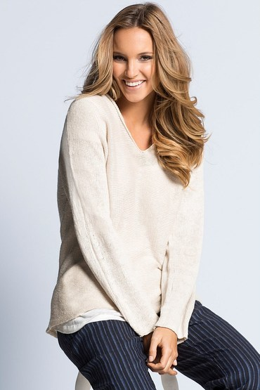 Emerge V Neck Linen Sweater