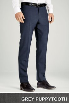Next Grey Tailored Fit Plain Front Puppytooth Trousers
