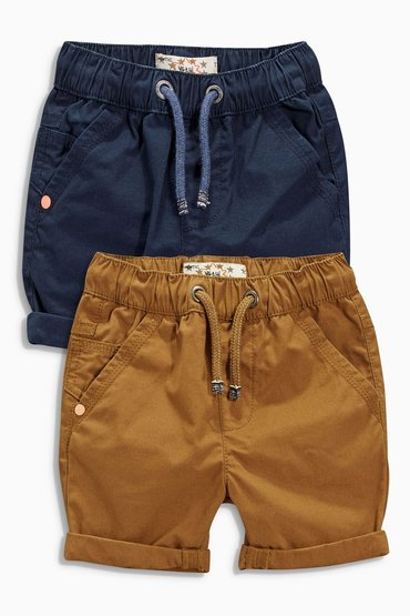 Next Navy/Stone Pull-On Shorts Two Pack (3mths-6yrs)