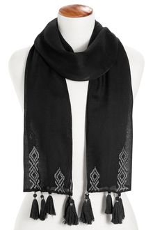 Next Black Skinny Scarf With Tassels And Embroidered Detail