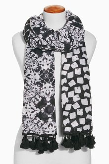 Next Monochrome Geometric Spliced Printed Scarf