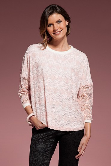 Grace Hill Lace Top with Contrast trim.
