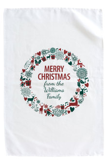 Personalised Teatowel -  Wreath