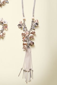 Next Silver Flower Detail Tassel Long Necklace